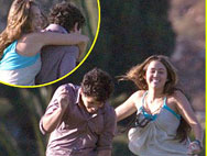 Miley Cyrus Hugs Nick Jonas, Sends It On